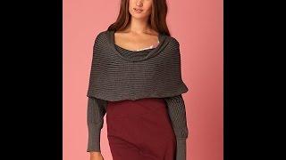 Шарф с рукавами, шарф кофта или шарф трансформер вяжем спицами.