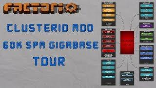 Factorio - Clusterio 60k SPM Cross-Server Gigabase Tour: Bot Speed 24, Mining Prod 4000+