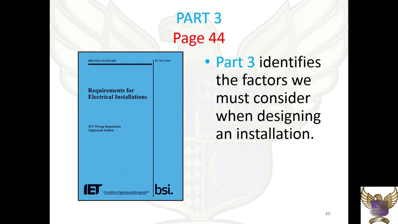 Intro to part 3 of the 18th Edition IET Wiring Regulations on
