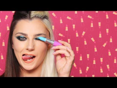 אתגר איפור מלא ממוצרי שפתיים בלבד! 💄💄💄