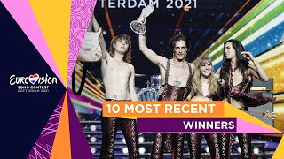 The 10 most recent winners of the Eurovision Song Contest
