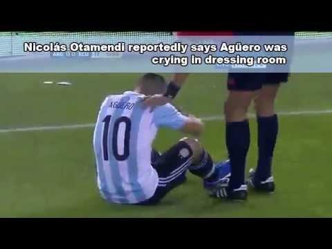 Sergio Aguero Man City striker injured playing for Argentina footage
