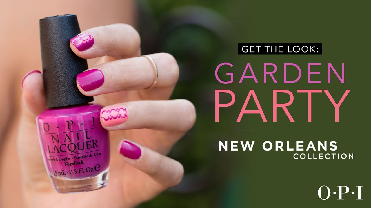 OPI New Orleans | Nail Art Tutorial | Garden Party - YouTube