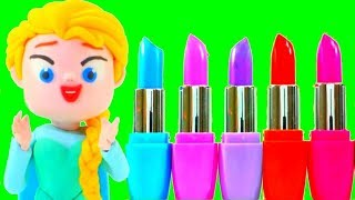 FROZEN ELSA NEW DRESS & MAKE UP ❤  Superhero Babies Play Doh Cartoons & Stop Motion Movies For Kids