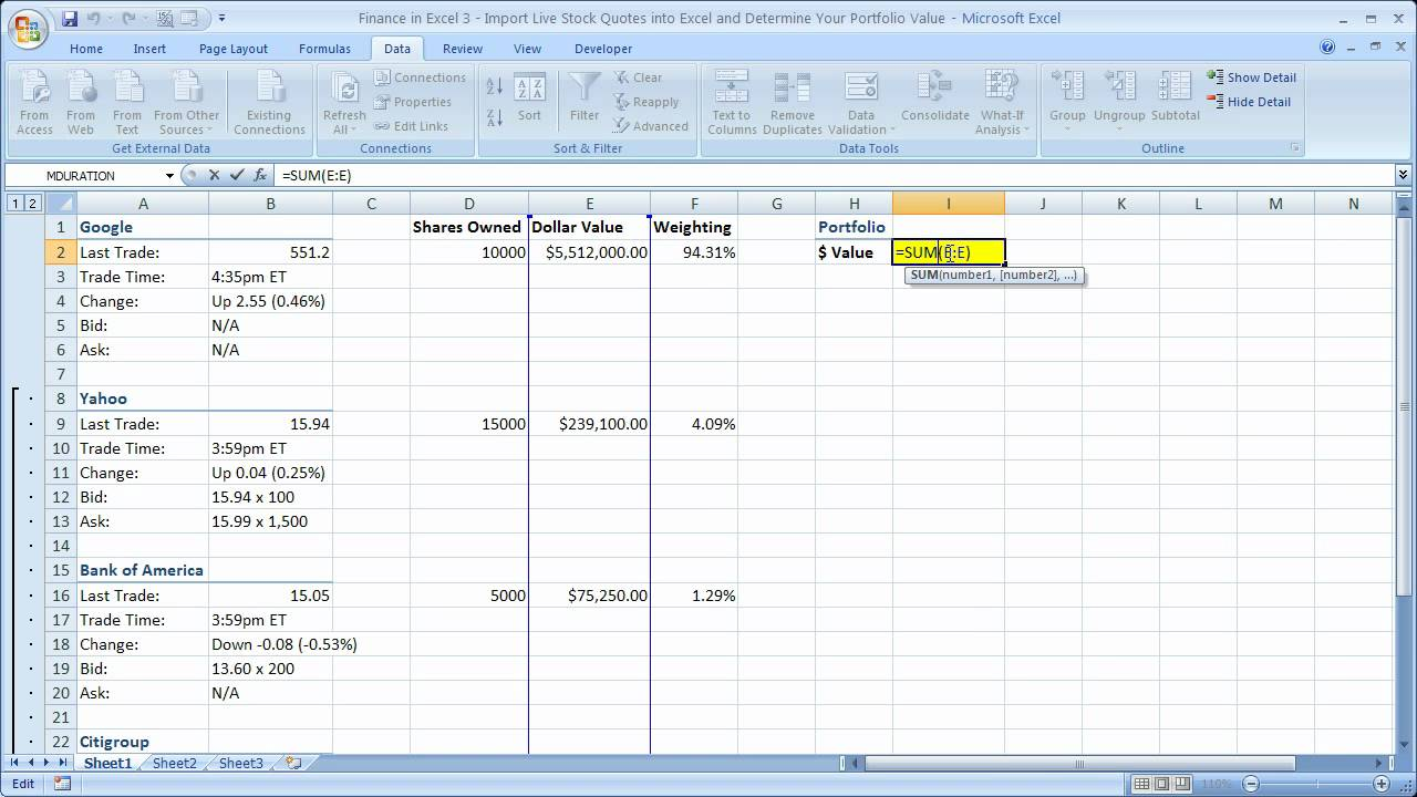 Finance In Excel 3
