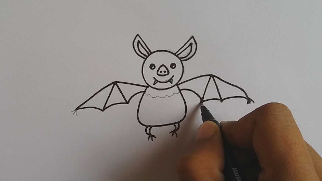 how to draw a cartoon bat for kids easy and simple youtube