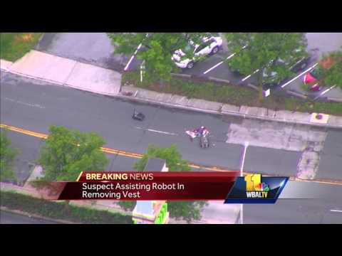 Police robots engage with man in WBFF threat situation