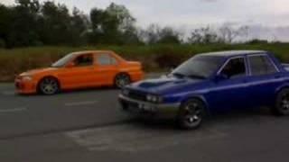 nissan langley pulsar GtiR vs. Mitsubishi evo III