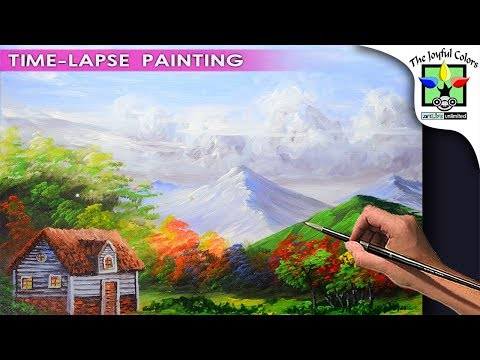 HOW TO PAINT | Beautiful house and basic landscape | Acrylic Painting Tutorial | 37