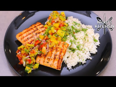 grilled-salmon-with-mango-salsa-&-rice-|-summer-vibes-recipe