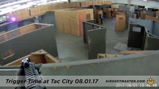 Airsoft Gameplay - Trigger Time at TacCity 080117 - Cracked my camera lense!