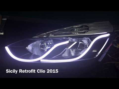 Sicily Retrofit Renault Clio IV 4 2015 headlight Led bixenon - YouTube