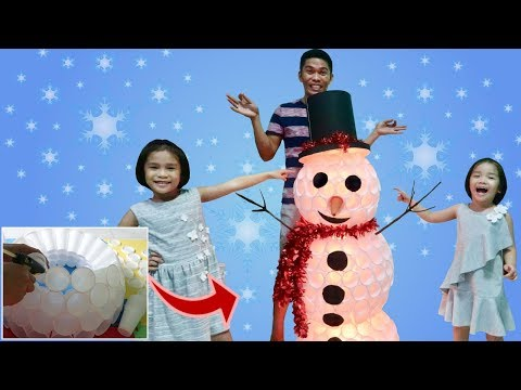 DIY Snowman Christmas Decoration with Daddy, Nathaly and Nadine