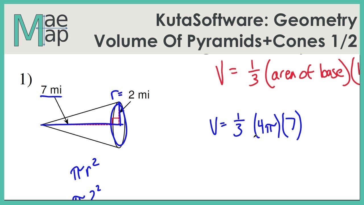 Kutasoftware Geometry Volume Of Pyramids And Cones Part 1 Youtube