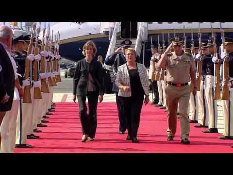 Llegada a Cali de la Presidenta de Chile, Michelle Bachelet