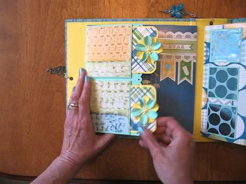 Handmade Scrapbook Mini Album 8x8 Baby Boy Interactive Tutorial