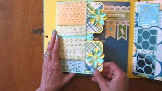 Handmade Scrapbook Mini Album 8x8 Baby Boy Interactive (Tutorial available)