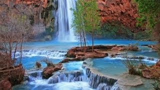 (Nature Relaxation w/ Music) Havasupai Indian Waterfall Relaxation Video by David Huting