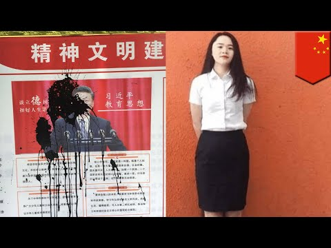 Woman missing after splashing ink at poster of Chinese president - TomoNews