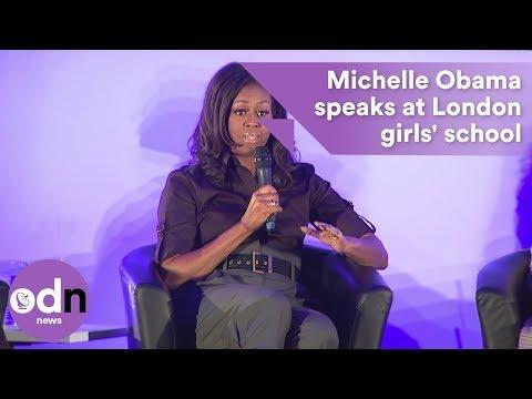 Michelle Obama speaks at London girls' school