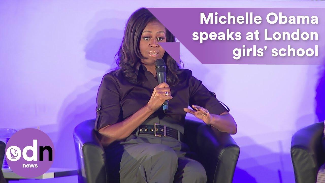 5b5d6cf99d Michelle Obama speaks at London girls' school - YouTube