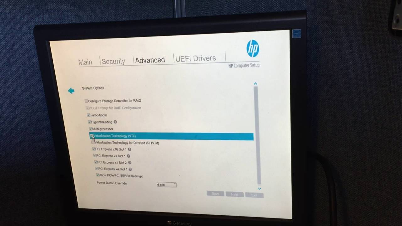 Virtualization VTX BIOS setting on HP Elitedesk 800 G2 SFF