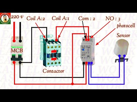 photocell wiring diagram how to wiring photocell with magnetic contactor  connection in hindi urdu