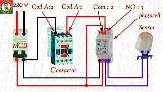 Photocell wiring Diagram. How to wiring Photocell with Magnetic Contactor  Connection in Hindi Urdu. - YouTubeYouTube