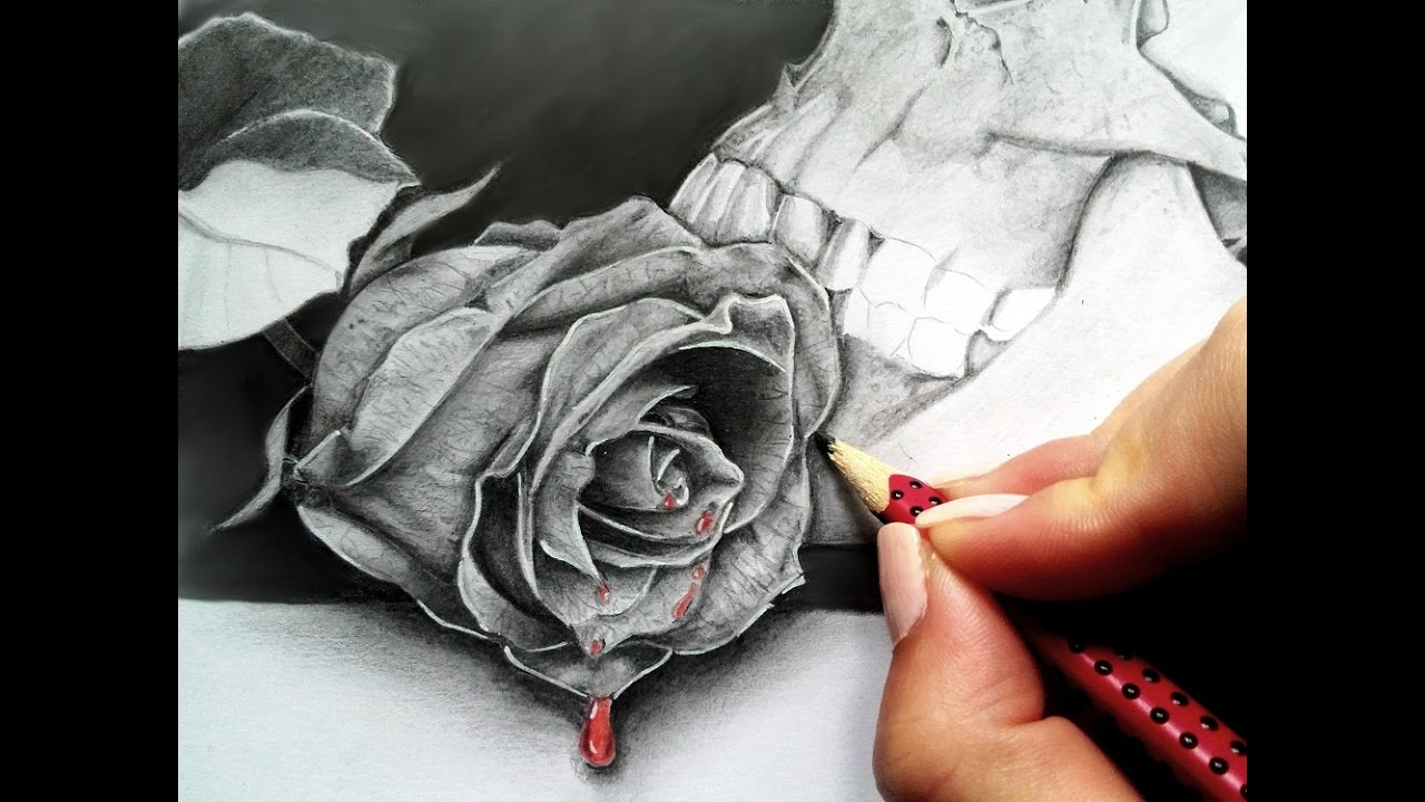 How to draw a realistic Rose in graphite - real time ...