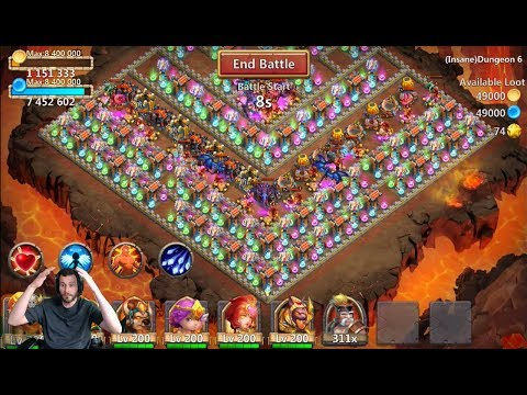 How To 3 Flame INSANE Dungeon 6-1 Castle Clash
