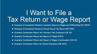 I Want to File a Tax Return or Wage Report