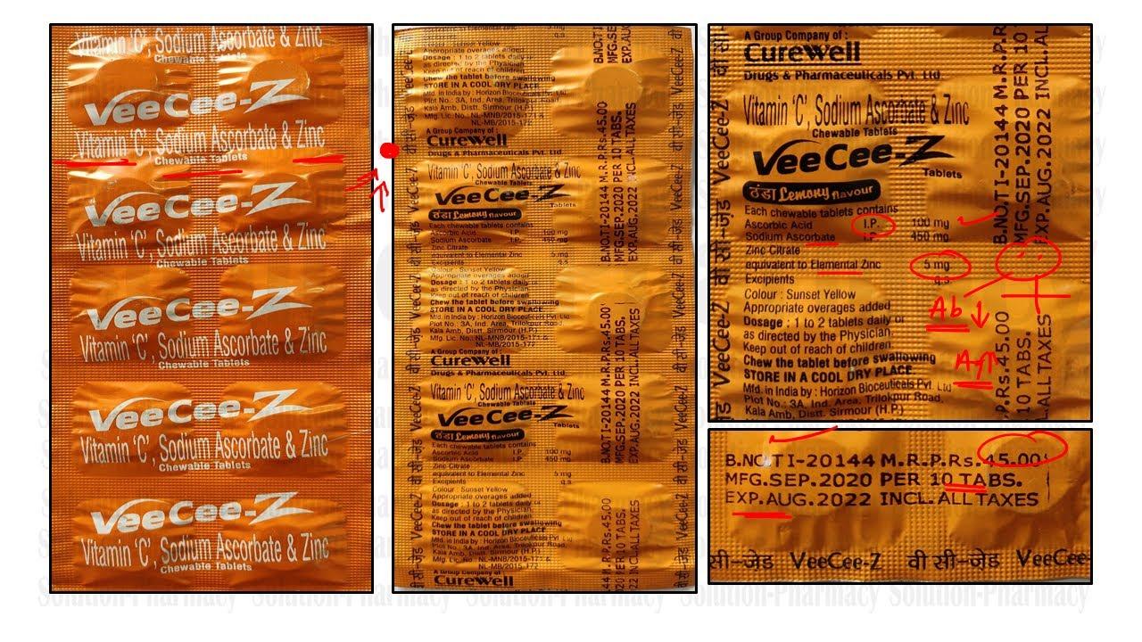 VeeCee-Z = Vitamin C + Sodium Ascorbate + Zinc Chewable Tablet = Antioxidant and Immunity Booster