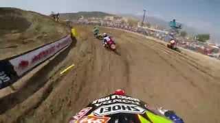 GoPro HD: Justin Barcia Lap 1 Moto 2 - Glen Helen MX Lucas Oil Pro Motocross Championship 2014