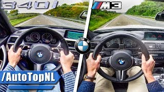 Bmw m3 f80 vs 340i f30 0-250km/h autobahn pov & sound by autotopnl