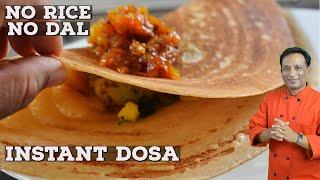 Instant Dosa - No Rice - No Dal - How To Make Crispy Dosa Batter With Whole Wheat Flour -Dosa Recipe