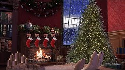 Christmas Ambience with Fireplace, Snow and Tree