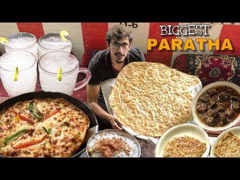 PAKISTANI STREET FOOD OF BAHAWALPUR. KALEJI WITH THE BIGGEST PARATHA.