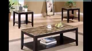 Coffee Table Set - Coaster 3pc Coffee Table & End Table Set Faux Marble Top Espresso Finish