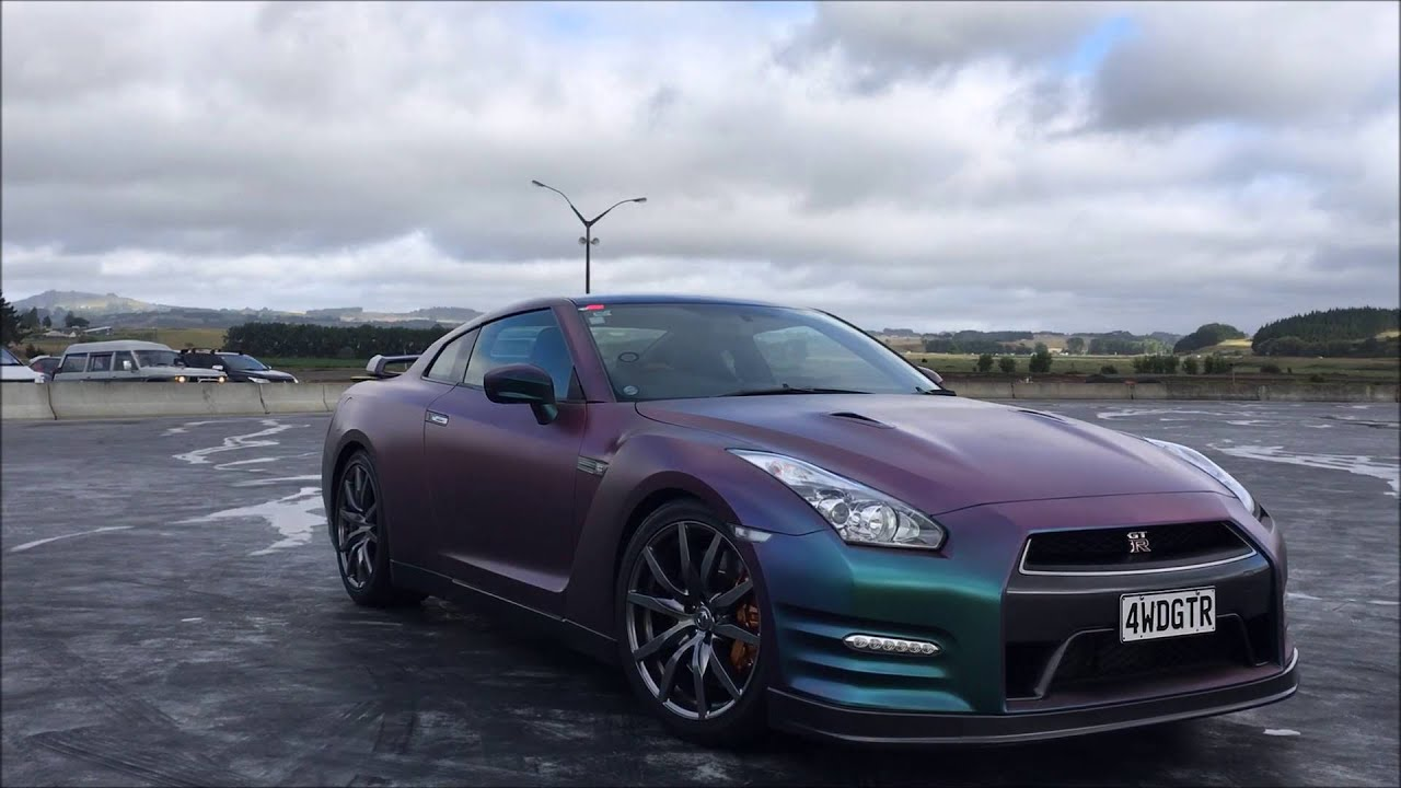 2016 Nissan Skyline >> 2013 Nissan GTR with Purple Green Paint - Track dayz - YouTube