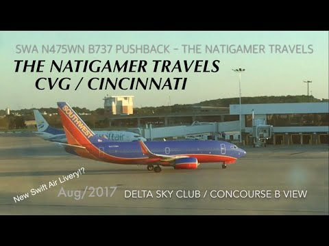 Southwest B737-700 Push Back: N475WN CVG / Cincinnati - BWI / Baltimore (Sky Club View) Aug/2017