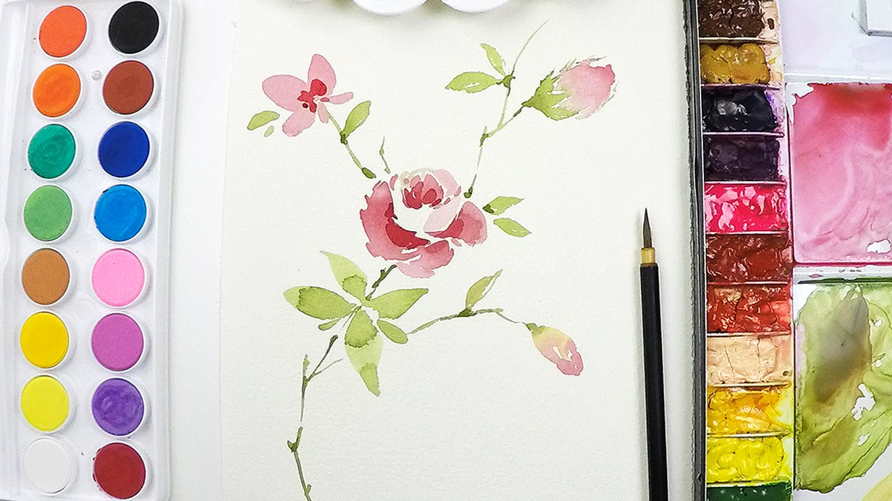 Lvl3 flower painting tutorial step by step youtube for How to paint a rose in watercolor step by step
