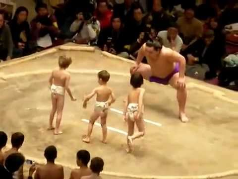 Cute sumo wrestler vs 3 happy kids youtube