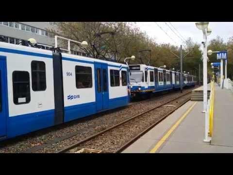 GVB Amsterdam Tram 5 en Metro 51 vanuit De Boelelaan/VU richting Centraal Station
