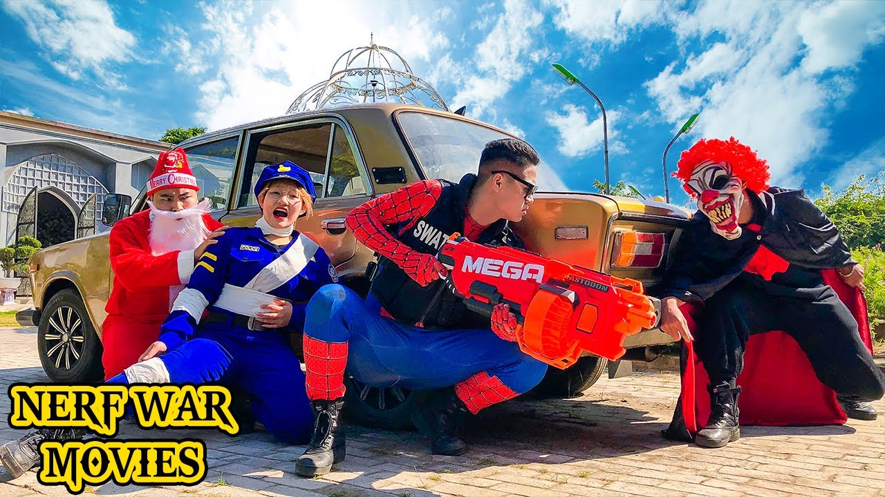Nerf War Movies: Spider X Warriors Nerf Guns Fight Criminal Group Protect Task