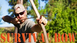 Build a Primitive Survival Bow - Live tree to long bow in two days
