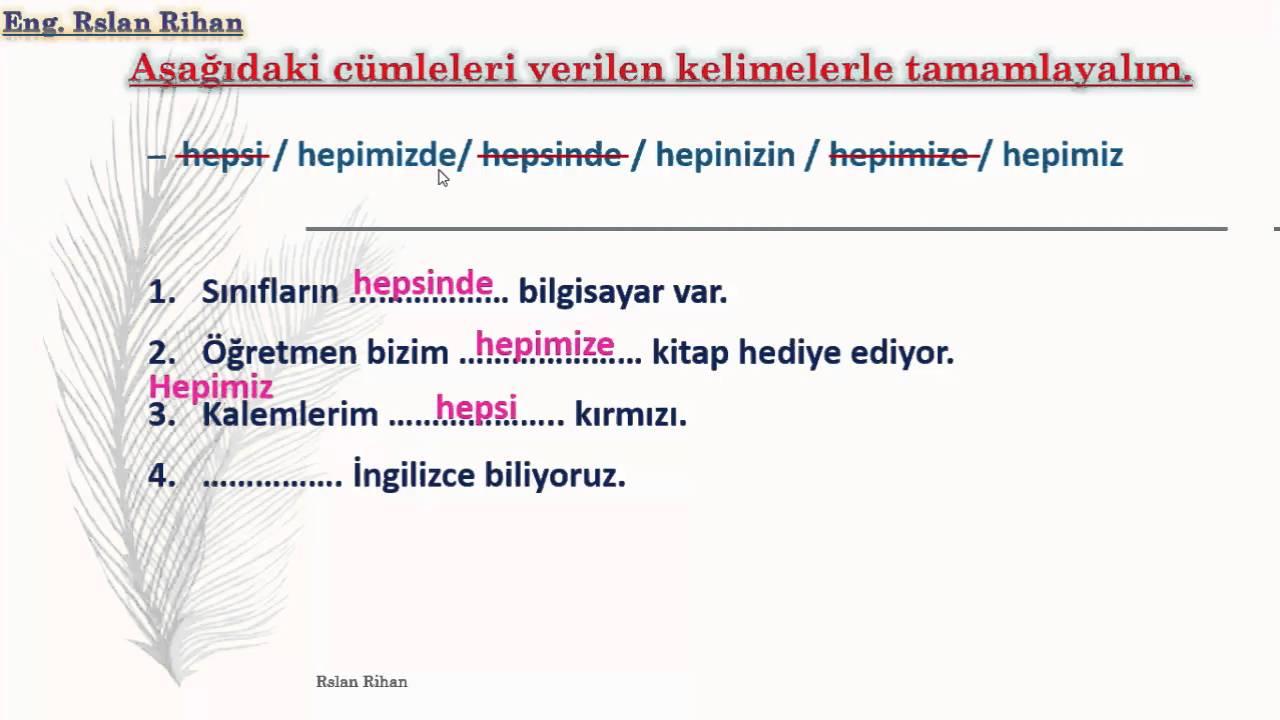 تعلم اللغة التركية (الدرس 13 من المستوى الأول A1) (الأداة Hep)