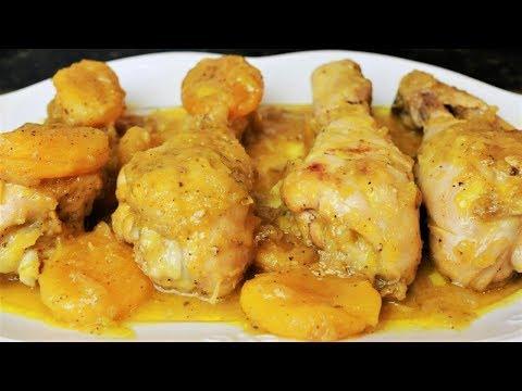 Muslos de pollo en salsa con orejones
