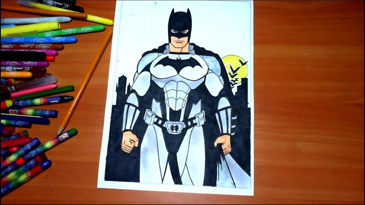 batman new coloring pages for kids colors superheroes coloring colored markers felt pens pencils