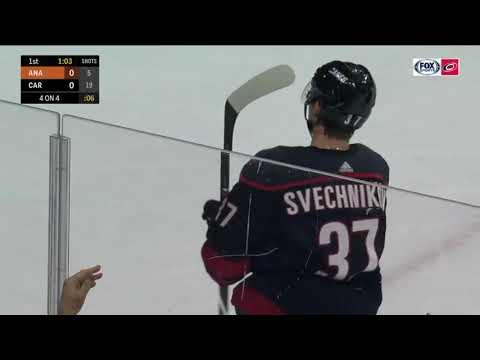 6 goal Andrey Svechnikov of season NHL 2018/19. Carolina Hurricanes - Anaheim Ducks