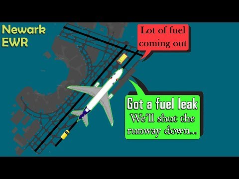 REAL ATC Fedex MD11 diverts to Newark due to FUEL LEAKING